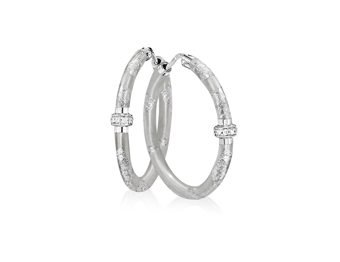 Soho enamel and round brilliant cut diamond earrings in silver.