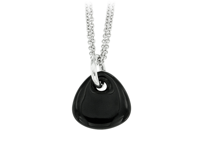 Soho black enamel pendant in silver.
