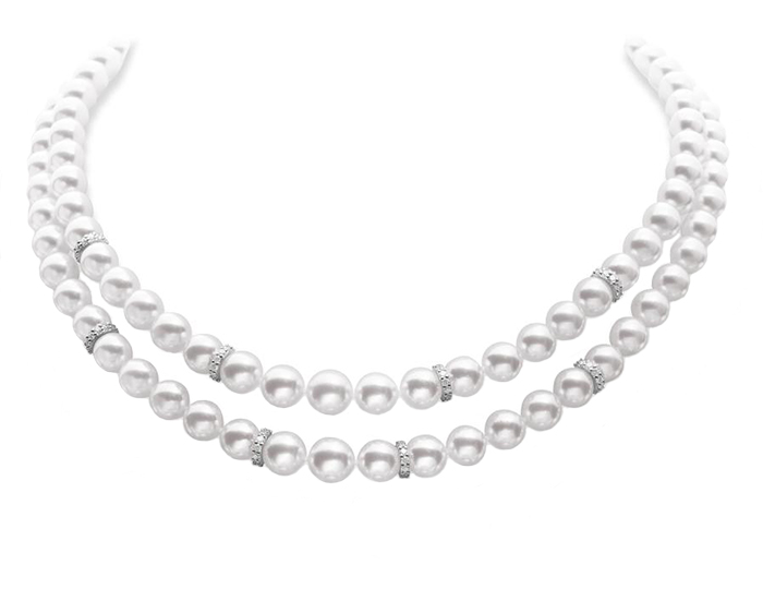 Mikimoto akoya pearl double strand necklace with round brilliant cut diamond rondelles set in 18k white gold.