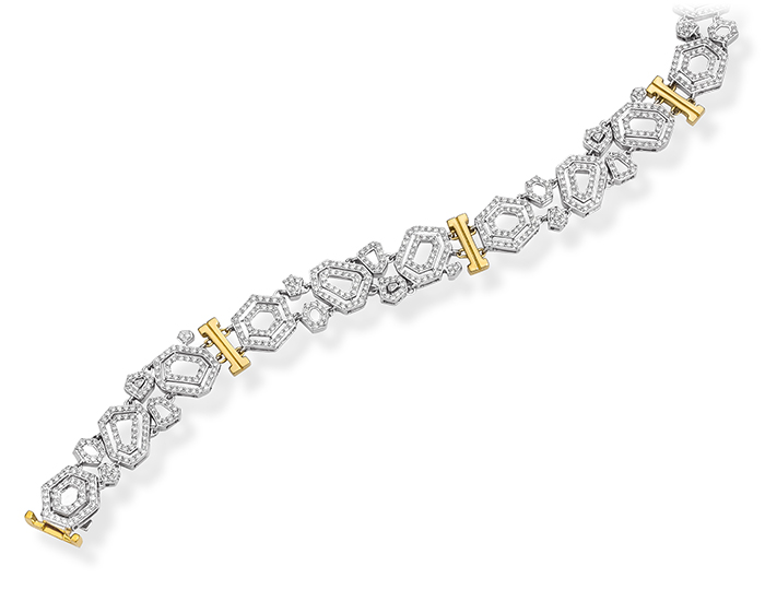 Montmartre Collection round brilliant cut diamond bracelet in 18k white and yellow gold.
