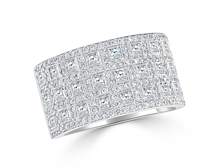 Blaze and round brilliant cut diamond band in 18k white gold.