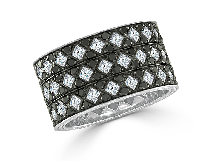 Blaze cut diamonds and round brilliant cut black diamond band in 18k white gold.