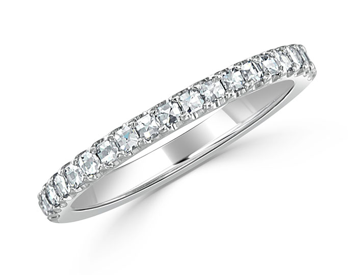 Bez Ambar blaze cut diamond band in platinum.