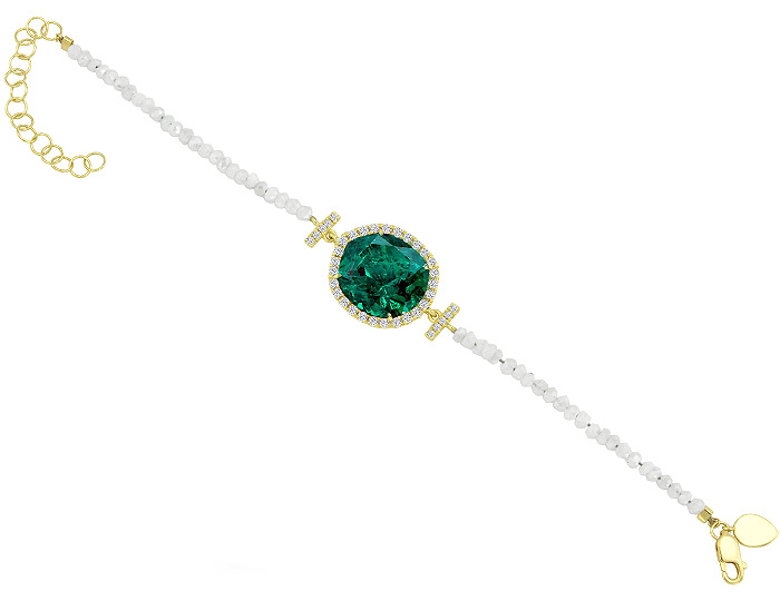 Meira T opal, round brilliant cut diamond and faceted white sapphire bracelet in 18k yellow gold.