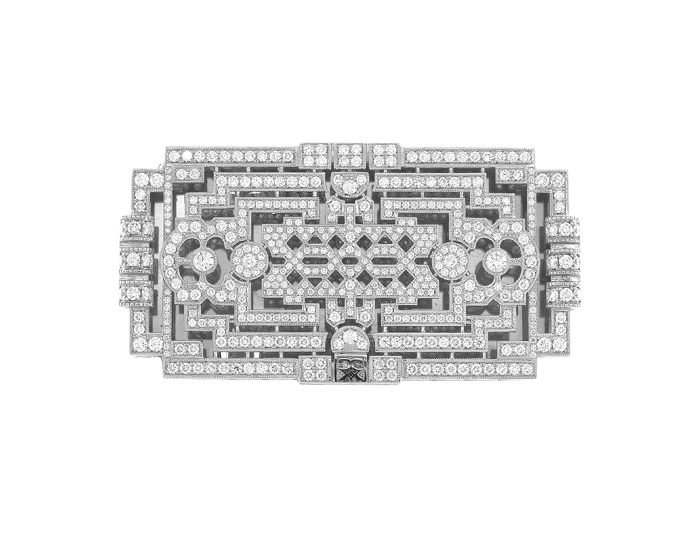 CCXX Designs Minerva belt buckle in 18k white gold with nearly 450 round brilliant cut diamonds.