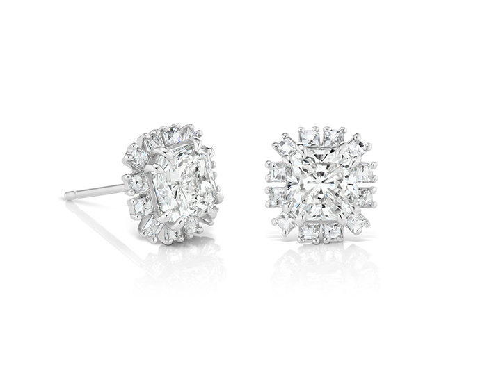 Bez Ambar radiant and Blaze cut diamond earrings in platinum