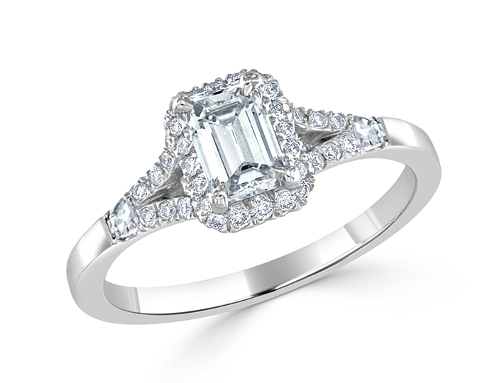 Emerald cut, blaze cut and round brilliant cut diamond engagement ring in platinum.