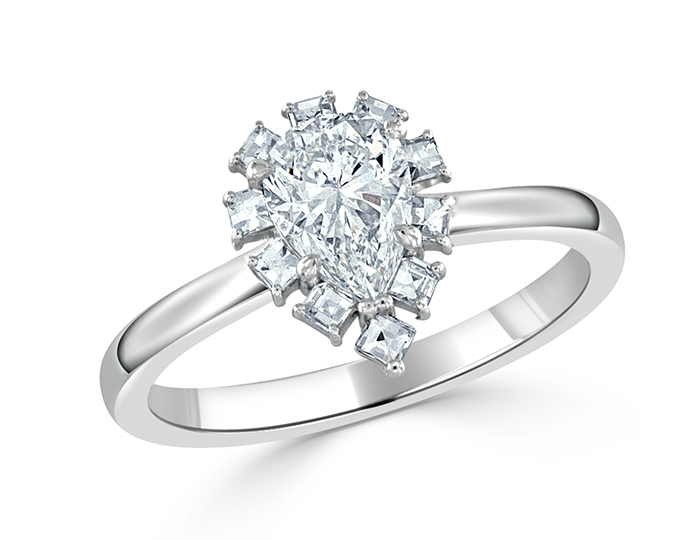Pear shape and round brilliant cut diamond engagement ring in 18k white gold.