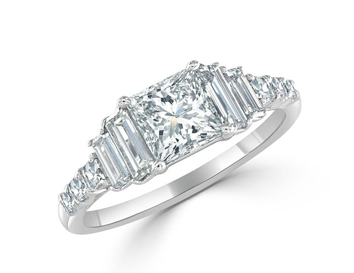 Bez Ambar princess, baguette and blaze cut diamond engagement ring in platinum.