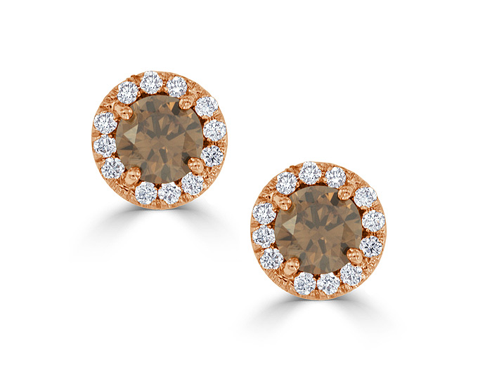 Bez Ambar fancy natural brown diamond and round brilliant cut diamond earrings in 18k rose gold.