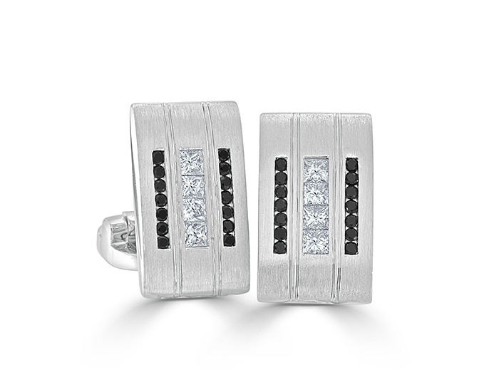 Bez Ambar princess cut diamond and black diamond clufflinks in 18k white gold.