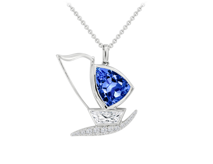 Bez Ambar trillion cut tanzanite, round brilliant cut diamond and special cut diamond sailboat pendant in 18k white gold.