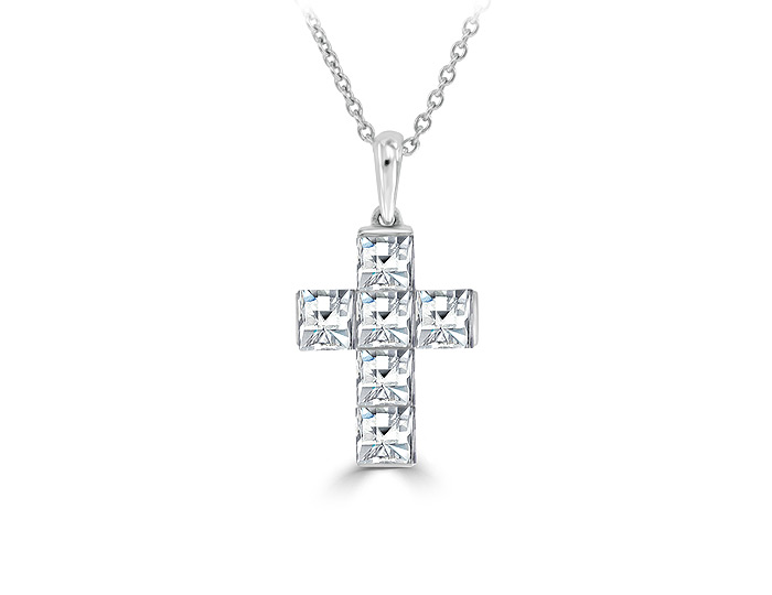 Blaze cut diamond cross pendant in 18k white gold.