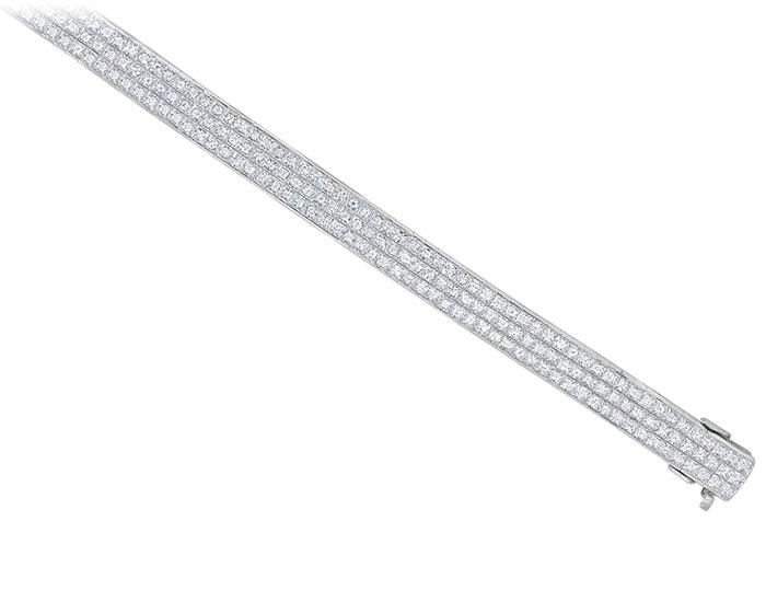 Bez Ambar quadrillion cut diamond bracelet in 18k white gold.