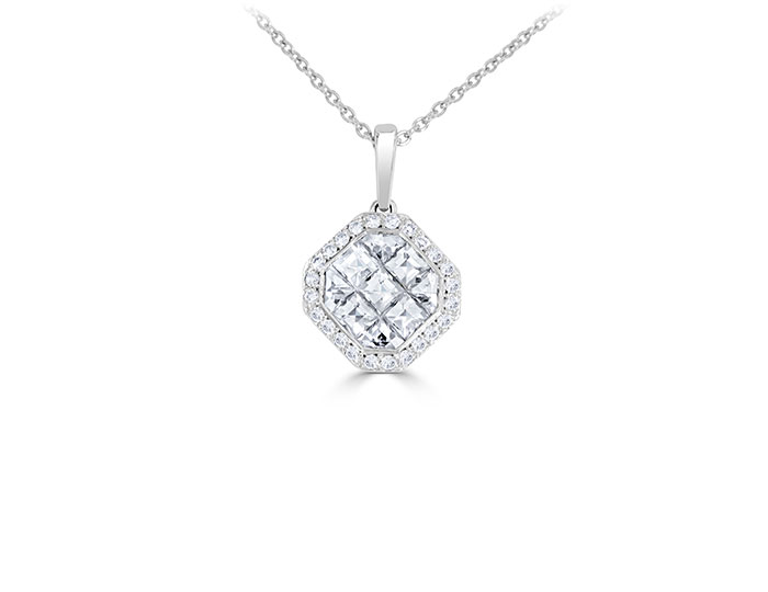 Bez Ambar blaze cut and round brilliant cut diamond pendant in 18k white gold.
