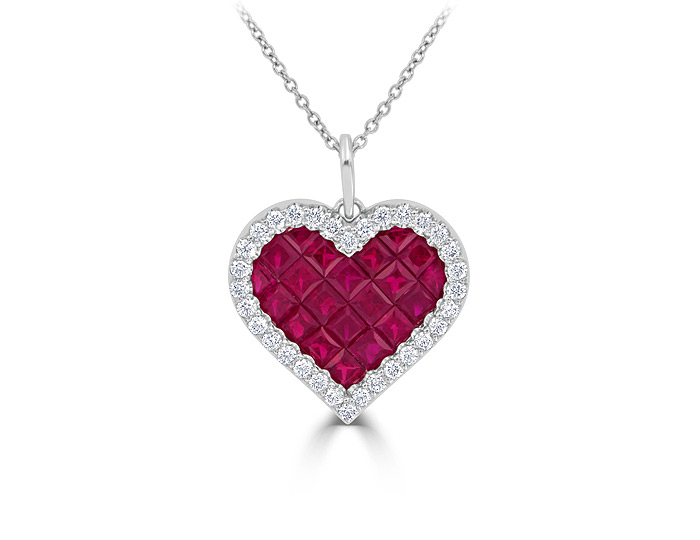 Ruby and round brilliant cut diamond heart pendant in 18k white gold.