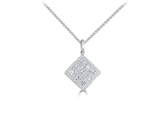 Carre cut and round brilliant cut diamond pendant in 18k white gold.