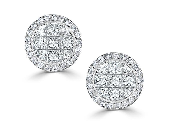Quadrillion cut and round brilliant cut diamond earrings in 18k white gold.