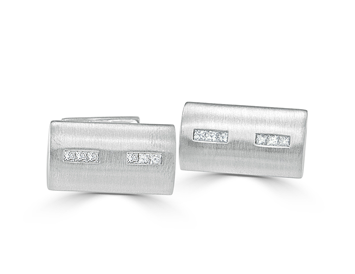 Bez Ambar men's princess cut diamond cufflinks in 18k white gold.