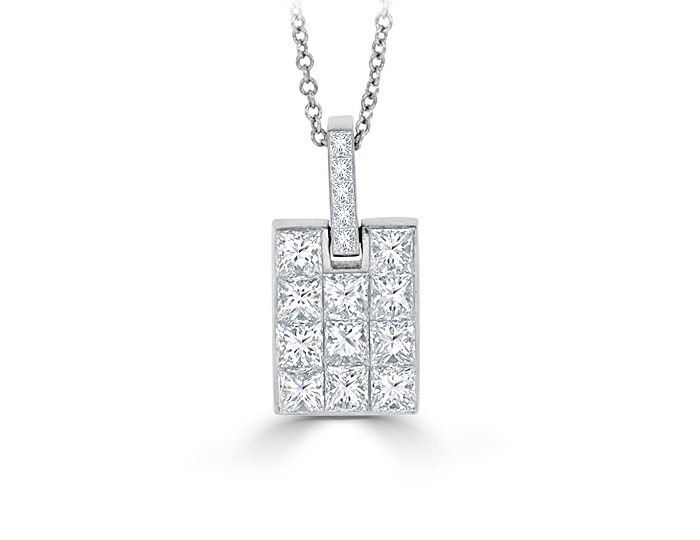 Quadrillion cut diamond pendant in 18k white gold.