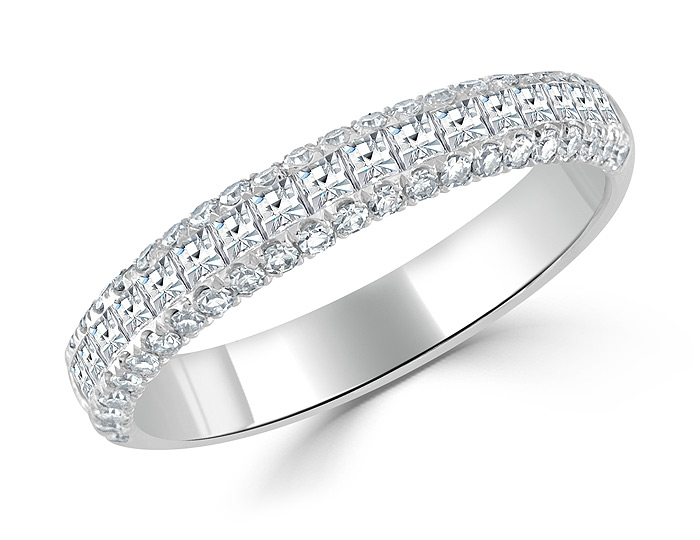 Bez Ambar blaze cut and single cut diamond band in 18k white gold.