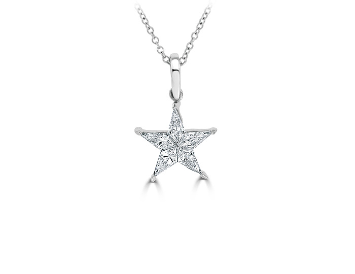 Kite shape diamond star pendant in 18k white gold.