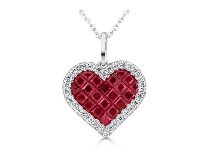 Ruby and round brilliant cut pendant in 18k white gold.