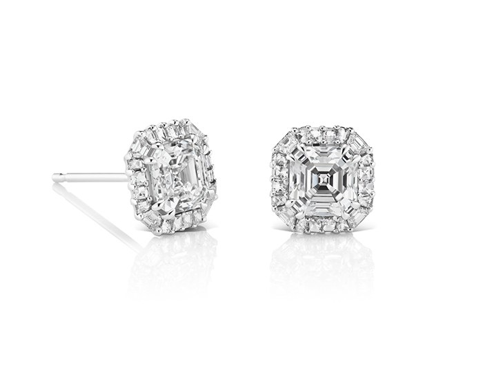 Bez Ambar asscher, blaze and baguette cut diamond earrings in 18k white gold.