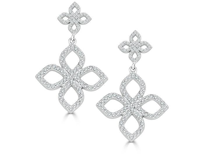 Round brilliant cut diamond earrings in 18k white gold.