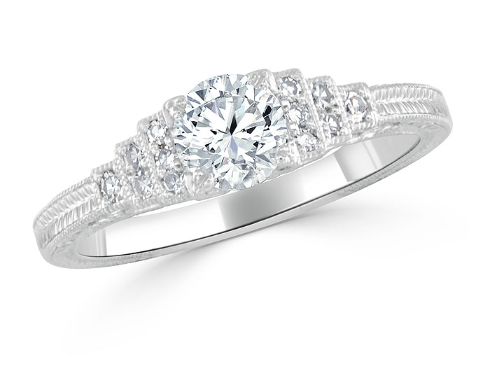 Bez Ambar old european cut and single cut diamond engagement ring in platinum.