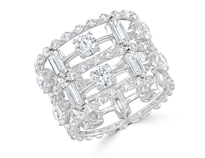 Bez Ambar round brilliant cut and baguette cut diamond ring in 18k white gold.