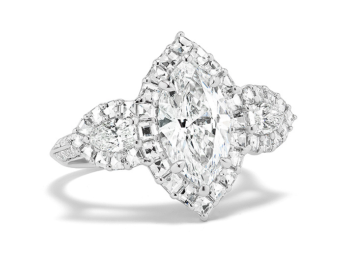 Bez Ambar marquise cut, blaze cut and round brilliant cut diamond engagement ring in platinum.