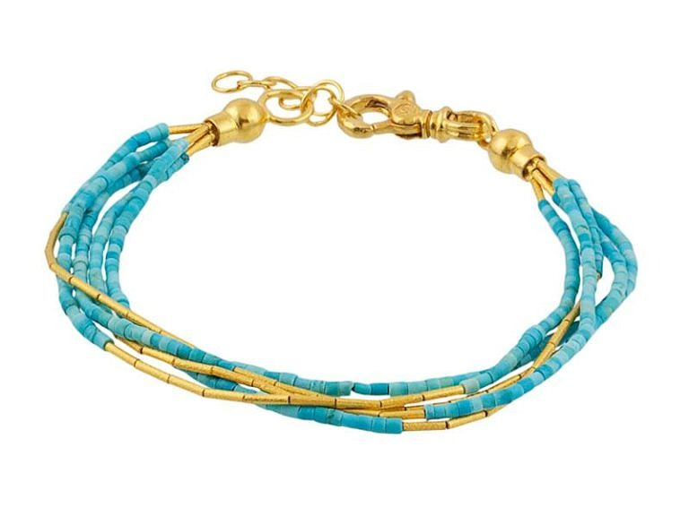 Gurhan Delicate Collection turquoise bracelet in 24k and 22k yellow gold.