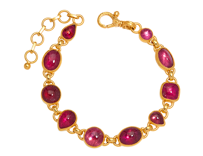 Gurhan Amulet Hue Collection pink tourmanline bracelet in 24k yellow gold.