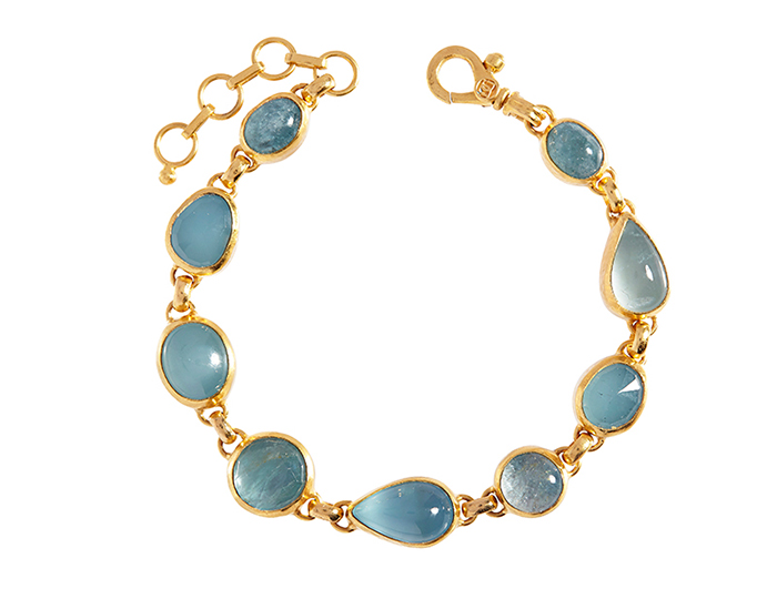 Gurhan one-of-a-kind aquamarine bracelet in 24k yellow gold.