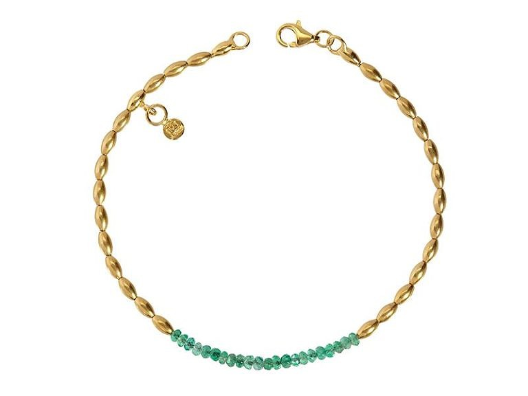 Gurhan Delicate Collection emerald bracelet in 24k and 22k yellow gold.
