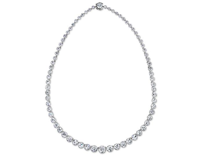 Old European cut diamond vintage necklace in platinum.