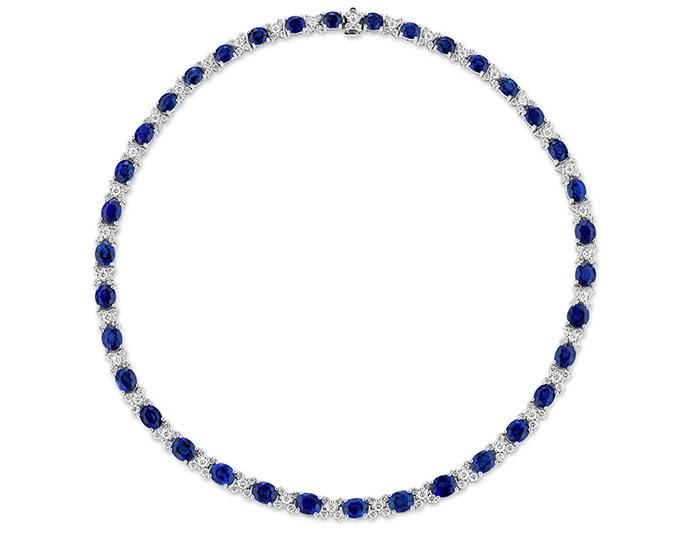 Sapphire and round brilliant cut diamond necklcae in 18k white gold.