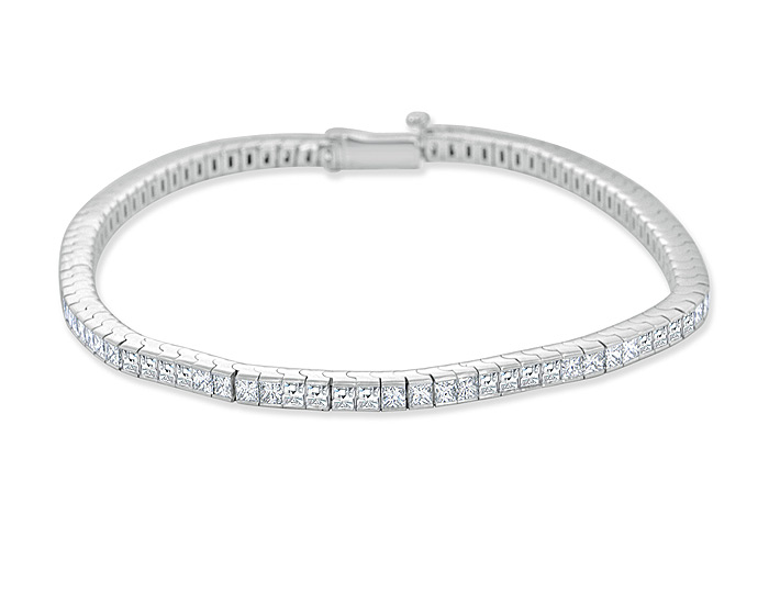 Bez Ambar blaze cut and quadrillion cut diamond bracelet in 18k white gold.