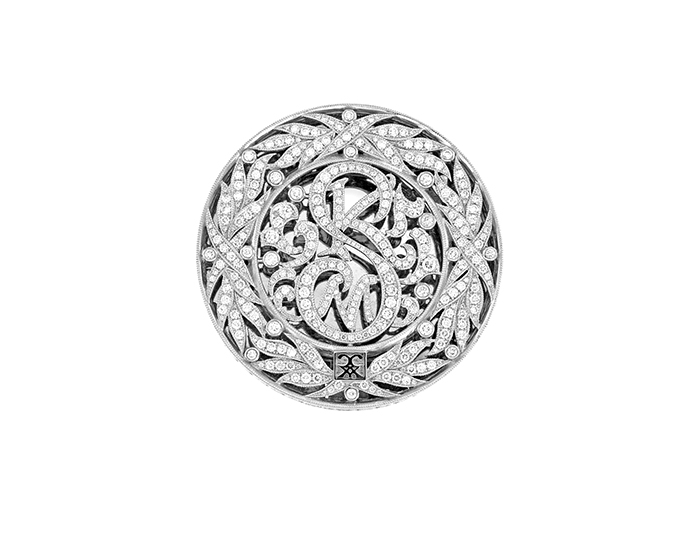 CCXX Designs custom made belt buckle in 18k white gold with round brilliant cut diamonds.
