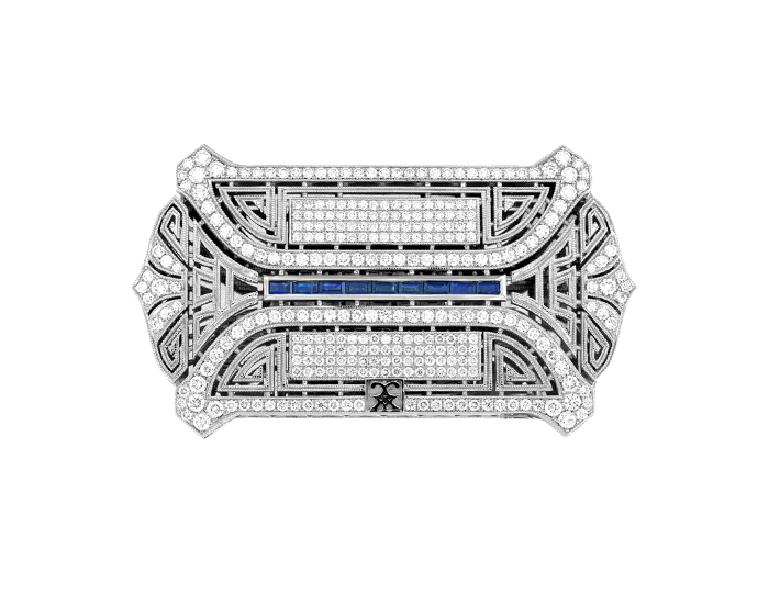 CCXX Designs belt buckle in 18k white gold with over 290 round brilliant cut diamonds and baguette cut sapphires.