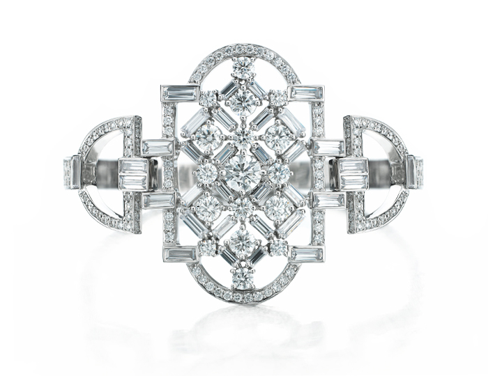 Maria Canale Deco Collection round brilliant cut and baguette cut diamond bangle bracelet in 18k white gold.