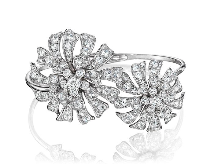 Maria Canale Aster Collection rose cut and round brilliant cut diamond bracelet in 18k white gold.