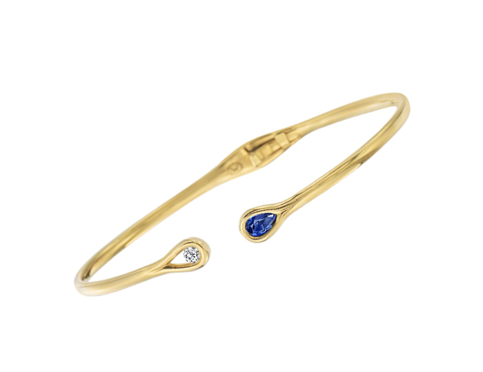 Maria Canale Drop Collection sapphire and round brillant cut diamond bracelet in 18k yellow gold.