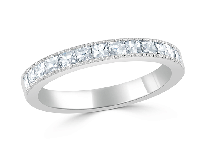 Bez Ambar blaze cut diamond band in platinum.