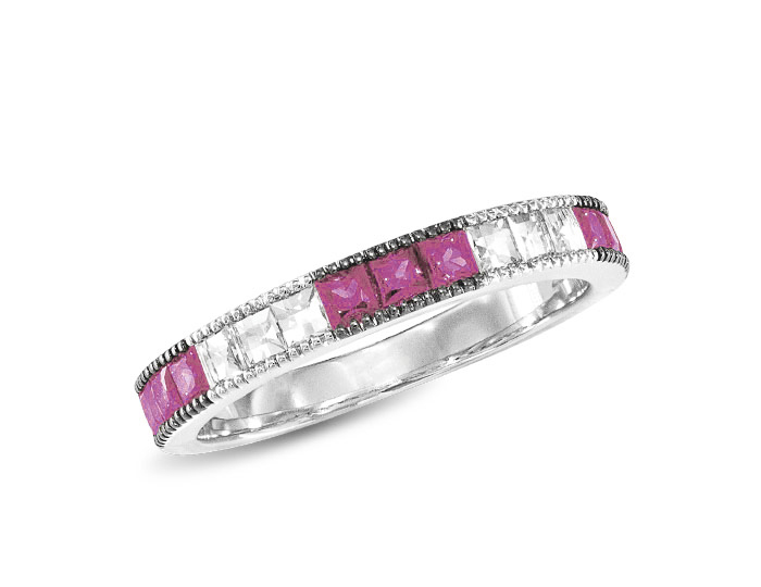 Pink sapphire and blaze cut diamond ring in 18k white gold.
