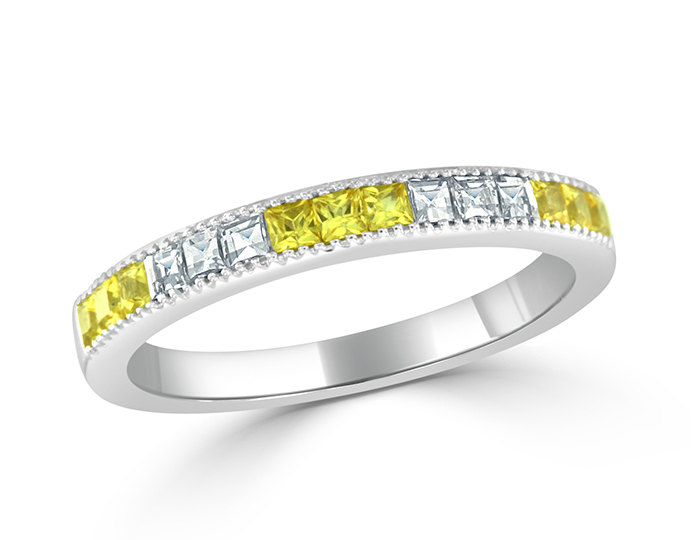 Yellow sapphire and blaze cut diamond band in 18k white gold.