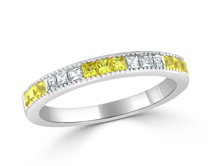 Bez Ambar blaze cut diamond and yellow sapphire band in 18k white gold.