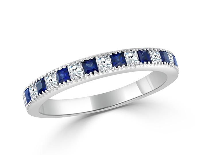 Sapphire and blaze cut diamond band in 18k white gold.