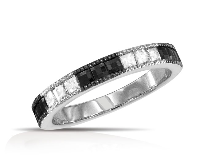 Blaze cut diamond and black diamond band in 18k white gold.